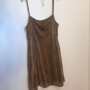 Gold strappy party dress, brown underlay
